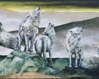 Alice Locoge - Tableaux : Animaux Au crepuscule 100x250 cm