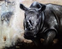 Alice Locoge - Tableaux : Animaux Rhinoceros 116x73 cm