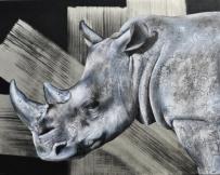 Alice Locoge - Tableaux : Animaux Rhinoceros 120x100 cm