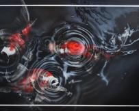 Alice Locoge - Tableaux : Animaux carpes koi 150x110 cm