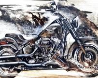 Alice Locoge : Tableaux - Belles Mecaniques Moto Harley Davidson 146x89 cm