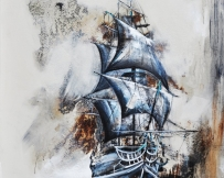 Alice Locoge : Tableaux - Belles Mecaniques Navire 100x100 cm