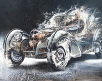 Alice Locoge : Tableaux - Belles Mecaniques Voiture Bugatti Atlantic 80x80 cm