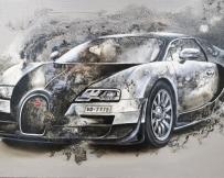 Alice Locoge : Tableaux - Belles Mecaniques Voiture Bugatti Veyron 89x130 cm