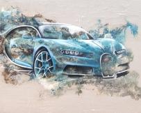 Alice Locoge : Tableaux - Belles Mecaniques Voiture Bugatti chiron 73x100 cm