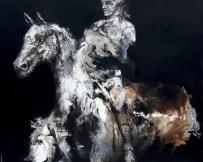 Alice Locoge - Tableaux : Nomades cavalier 80x80 cm